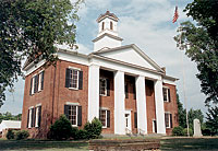 View of downtown Columbus, NC historic courthouse